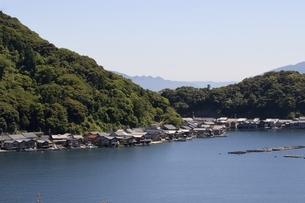 伊根の舟屋,湾内に立ち並ぶ家屋の写真素材 [FYI04536565]