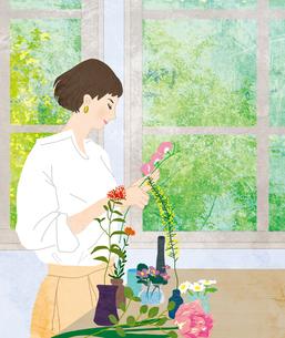花を活ける女性のイラスト素材 [FYI04536662]