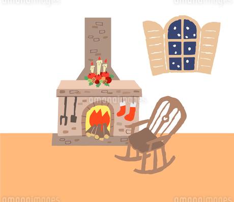 暖炉とロッキングチェアのある部屋のイラスト素材 [FYI04536665]