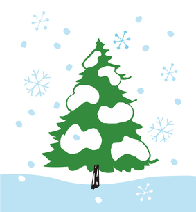 モミの木と雪のイラスト素材 [FYI04536666]