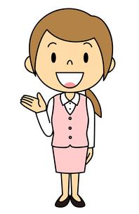女性 会社員 立ち姿 ご案内 のイラスト素材 [FYI04537036]