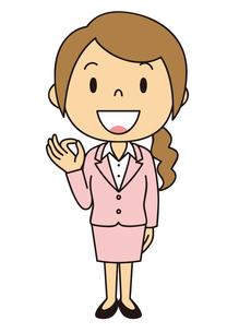 女性 会社員 立ち姿 OKポーズのイラスト素材 [FYI04537037]