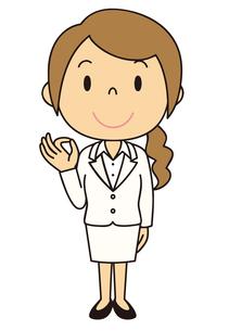 女性 会社員 立ち姿 OKポーズのイラスト素材 [FYI04537038]