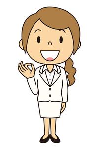 女性 会社員 立ち姿 OKポーズのイラスト素材 [FYI04537039]