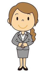 女性 会社員 立ち姿 基本姿勢のイラスト素材 [FYI04537109]