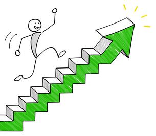 階段の矢印を上る人のイラスト素材 [FYI04537244]