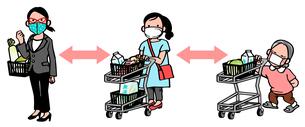 距離を保ってお買い物のイラスト素材 [FYI04537379]