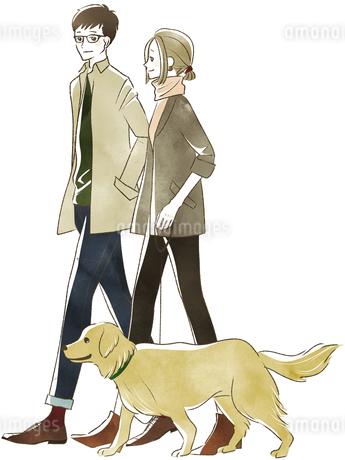 犬の散歩をする夫婦・カップルのイラスト素材 [FYI04537427]