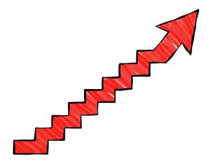 階段の矢印 マーカーテクスチャ のイラスト素材 [FYI04537662]