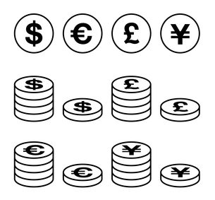 お金のアイコンセットのイラスト素材 [FYI04537663]