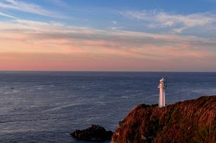 赤く染まる足摺岬の灯台の写真素材 [FYI04538517]