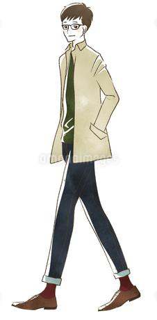 笑顔で歩く男性のイラスト素材 [FYI04538928]