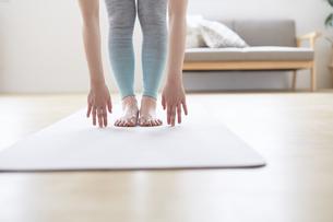 ヨガマットの上で前屈で床に手を付く女性の手元の写真素材 [FYI04539695]