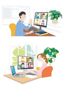テレワーク、リモートワーク、在宅勤務する男性と女性のイラスト素材 [FYI04540206]