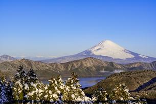 箱根・大観峰より厳冬期の富士山と芦ノ湖の写真素材 [FYI04541275]