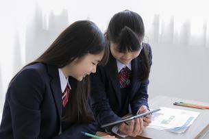 タブレットPCを使って勉強する女子学生の写真素材 [FYI04541428]