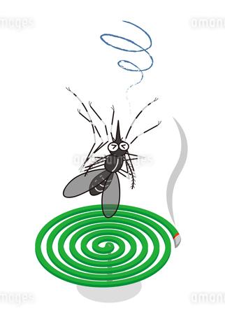 蚊取線香と蚊 (ヒトスジマジカ) イラストのイラスト素材 [FYI04541452]