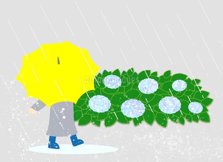 ル雨の日に、黄色い傘をさして歩いている子供、水が飛びはねているのイラスト素材 [FYI04541508]