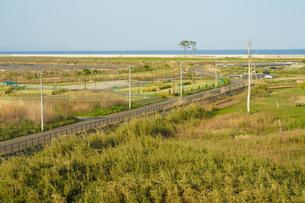 仙台市荒浜小学校から見える荒浜海岸の写真素材 [FYI04542094]