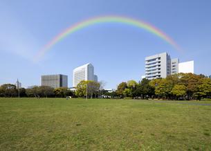 幕張海浜公園の芝生広場と虹の写真素材 [FYI04542769]