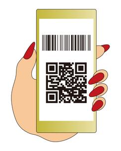 QRコードとバーコードが表示されたスマートフォンと手 イラストのイラスト素材 [FYI04542793]