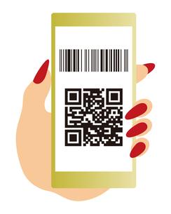 QRコードとバーコードが表示されたスマートフォンと手 イラストのイラスト素材 [FYI04542794]