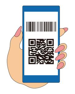 QRコードとバーコードが表示されたスマートフォンと手 イラストのイラスト素材 [FYI04542795]