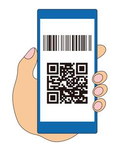 QRコードとバーコードが表示されたスマートフォンと手 イラストのイラスト素材 [FYI04542796]