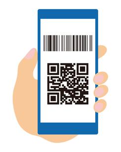 QRコードとバーコードが表示されたスマートフォンと手 イラストのイラスト素材 [FYI04542798]