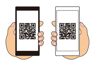 QRコードが表示されたスマートフォンと手 イラストのイラスト素材 [FYI04542799]