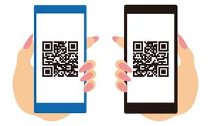 QRコードが表示されたスマートフォンと手 イラストのイラスト素材 [FYI04542800]
