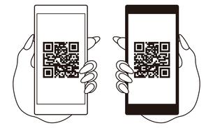 QRコードが表示されたスマートフォンと手 イラストのイラスト素材 [FYI04542801]