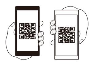 QRコードが表示されたスマートフォンと手 イラストのイラスト素材 [FYI04542802]