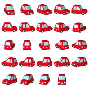 デフォルメ自動車 赤のハッチバック マルチアングルのイラスト素材 [FYI04542909]