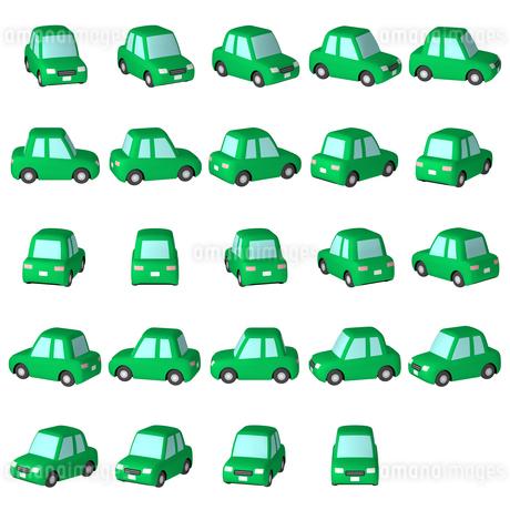 デフォルメ自動車 緑のセダン マルチアングルのイラスト素材 [FYI04542910]