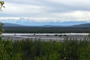 アラスカ州、夏の雪山の写真素材 [FYI04542915]
