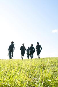 草原を走るビジネスマンとビジネスウーマンの後姿の写真素材 [FYI04543780]