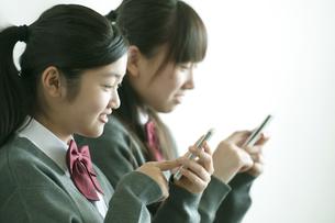 スマートフォンを操作する中学生の写真素材 [FYI04544487]