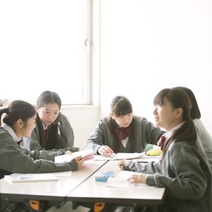 グループ学習をする中学生の写真素材 [FYI04545005]