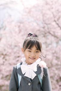 桜の前で微笑む小学生の写真素材 [FYI04545037]