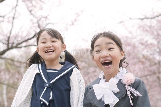 桜の前で微笑む小学生の写真素材 [FYI04545060]
