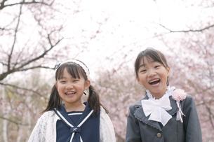 桜の前で微笑む小学生の写真素材 [FYI04545065]
