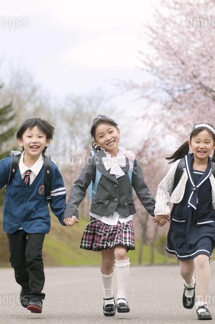 桜並木道を走る小学生の写真素材 [FYI04545081]