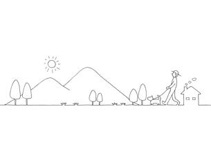 山並みの風景線画イラストのイラスト素材 [FYI04545160]