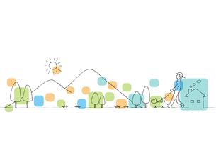 山並みの風景線画イラストのイラスト素材 [FYI04545161]