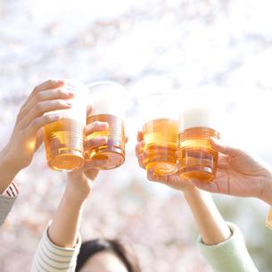 乾杯をする若者たちの手元の写真素材 [FYI04545249]