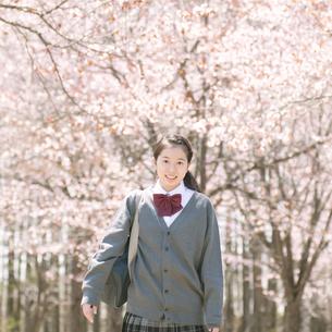 桜の前で微笑む中学生の写真素材 [FYI04545281]