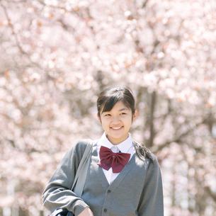 桜の前で微笑む中学生の写真素材 [FYI04545289]