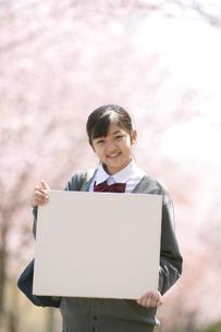 桜の前でメッセージボードを持つ中学生の写真素材 [FYI04545345]