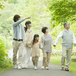 新緑の中で手をつなぐ3世代家族の写真素材 [FYI04545381]